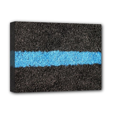 Black Blue Lawn Deluxe Canvas 16  x 12  (Framed)