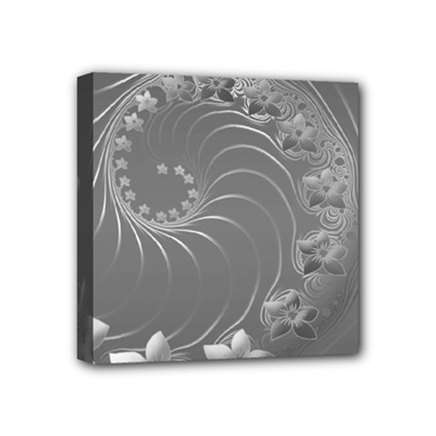 Gray Abstract Flowers Mini Canvas 4  X 4  (framed)