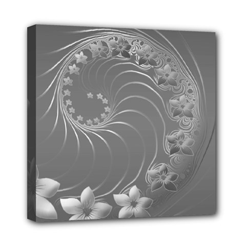 Gray Abstract Flowers Mini Canvas 8  x 8  (Framed)