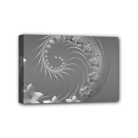 Gray Abstract Flowers Mini Canvas 6  x 4  (Framed)