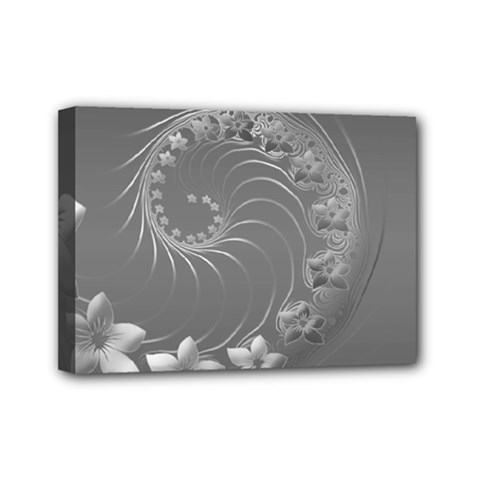 Gray Abstract Flowers Mini Canvas 7  X 5  (framed)