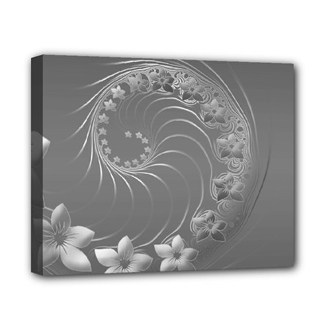 Gray Abstract Flowers Canvas 10  x 8  (Framed)