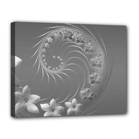 Gray Abstract Flowers Canvas 14  X 11  (framed)