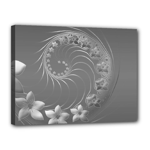 Gray Abstract Flowers Canvas 16  x 12  (Framed)