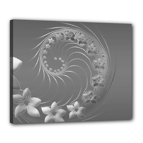 Gray Abstract Flowers Canvas 20  x 16  (Framed)