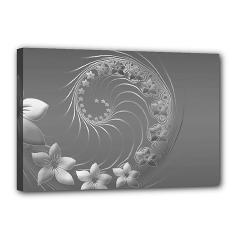 Gray Abstract Flowers Canvas 18  X 12  (framed)