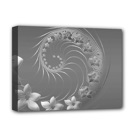 Gray Abstract Flowers Deluxe Canvas 16  X 12  (framed)