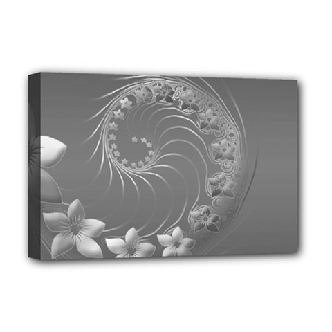 Gray Abstract Flowers Deluxe Canvas 18  x 12  (Framed)