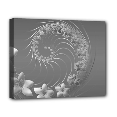 Gray Abstract Flowers Deluxe Canvas 20  X 16  (framed)