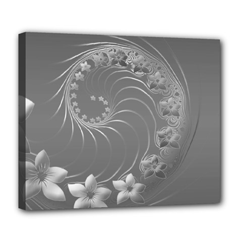 Gray Abstract Flowers Deluxe Canvas 24  x 20  (Framed)