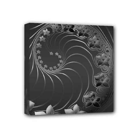 Dark Gray Abstract Flowers Mini Canvas 4  x 4  (Framed)