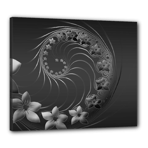 Dark Gray Abstract Flowers Canvas 24  x 20  (Framed)