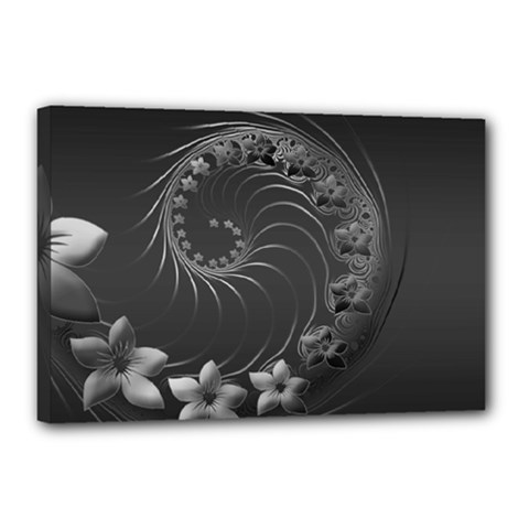 Dark Gray Abstract Flowers Canvas 18  x 12  (Framed)