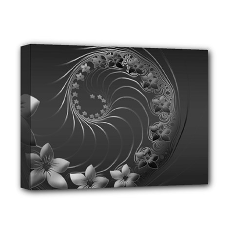 Dark Gray Abstract Flowers Deluxe Canvas 16  x 12  (Framed)