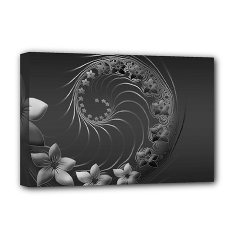 Dark Gray Abstract Flowers Deluxe Canvas 18  x 12  (Framed)