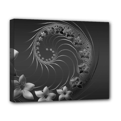 Dark Gray Abstract Flowers Deluxe Canvas 20  x 16  (Framed)
