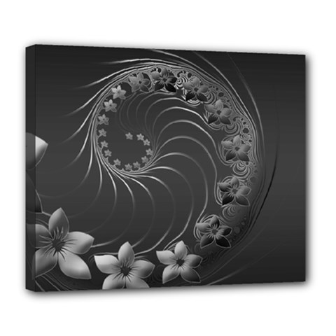 Dark Gray Abstract Flowers Deluxe Canvas 24  x 20  (Framed)