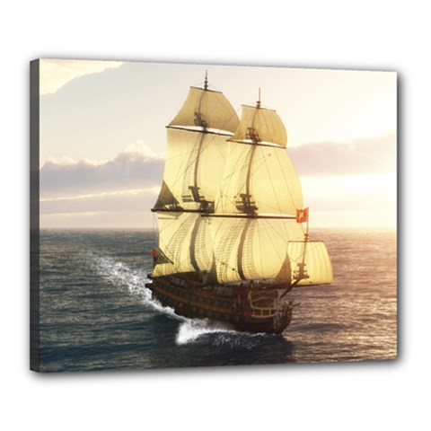 French Warship Canvas 20  x 16  (Framed)