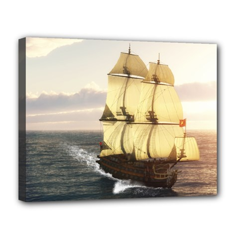 French Warship Canvas 14  X 11  (framed)