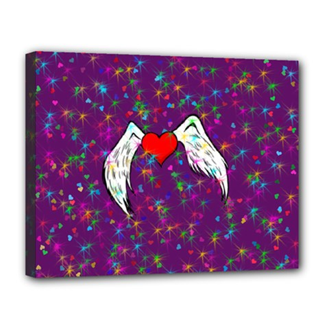 Your Heart Has Wings so Fly - Updated Canvas 14  x 11  (Framed)