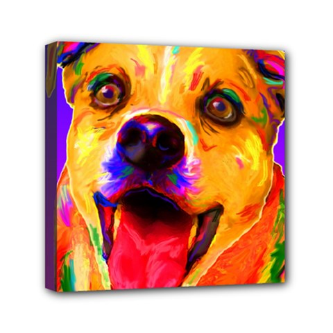 Happy Dog Mini Canvas 6  x 6  (Framed)