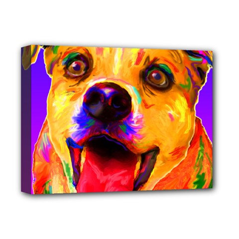Happy Dog Deluxe Canvas 16  X 12  (framed)