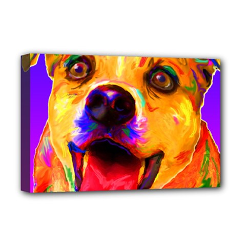 Happy Dog Deluxe Canvas 18  X 12  (framed)
