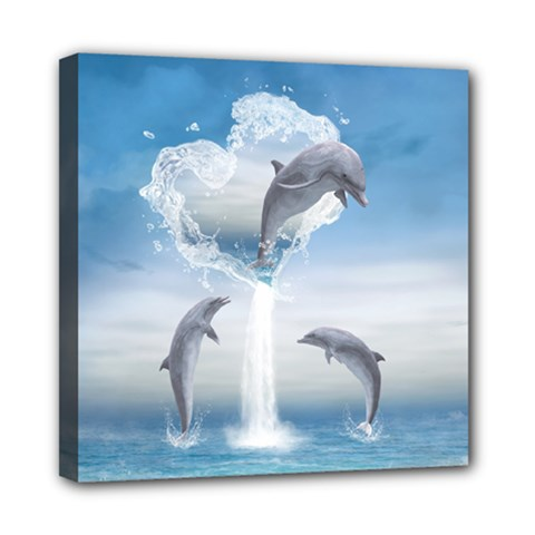 The Heart Of The Dolphins Mini Canvas 8  x 8  (Framed)