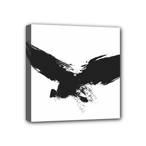 Grunge Bird Mini Canvas 4  X 4  (framed)