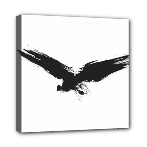 Grunge Bird Mini Canvas 8  X 8  (framed)
