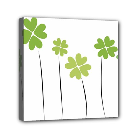clover Mini Canvas 6  x 6  (Framed)