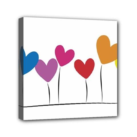 Heart flowers Mini Canvas 6  x 6  (Framed)