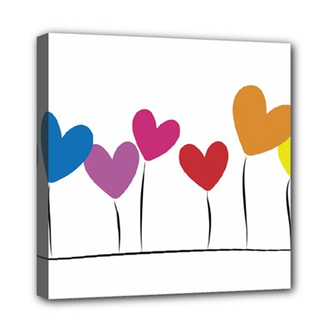 Heart flowers Mini Canvas 8  x 8  (Framed)