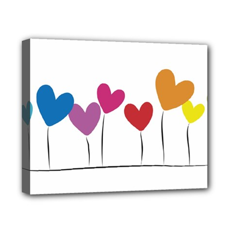 Heart flowers Canvas 10  x 8  (Framed)