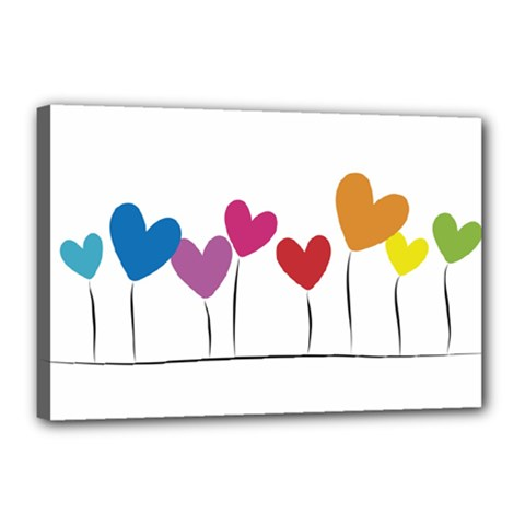 Heart flowers Canvas 18  x 12  (Framed)