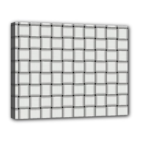 White Weave Canvas 14  x 11  (Framed)