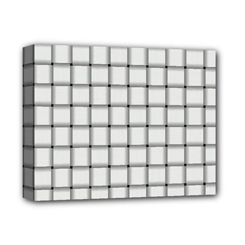 White Weave Deluxe Canvas 14  x 11  (Framed)