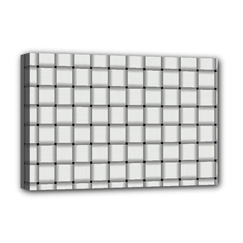 White Weave Deluxe Canvas 18  x 12  (Framed)
