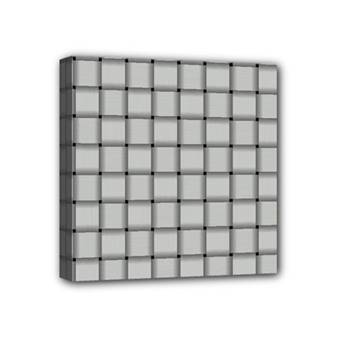 Gray Weave Mini Canvas 4  x 4  (Framed)
