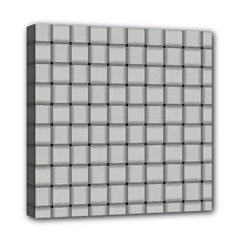 Gray Weave Mini Canvas 8  X 8  (framed)