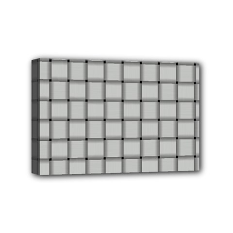 Gray Weave Mini Canvas 6  X 4  (framed)