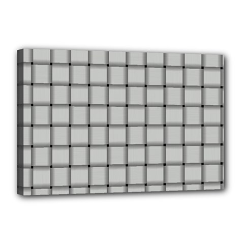 Gray Weave Canvas 18  x 12  (Framed)