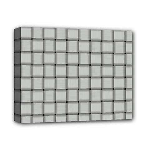 Gray Weave Deluxe Canvas 14  x 11  (Framed)