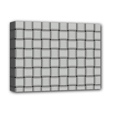 Gray Weave Deluxe Canvas 16  x 12  (Framed)