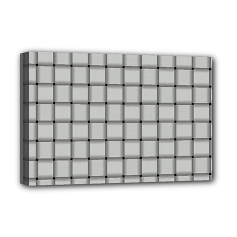 Gray Weave Deluxe Canvas 18  X 12  (framed)