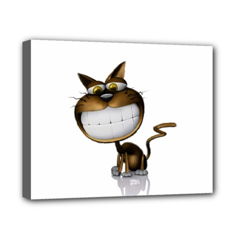 Funny Cat Canvas 10  x 8  (Framed)