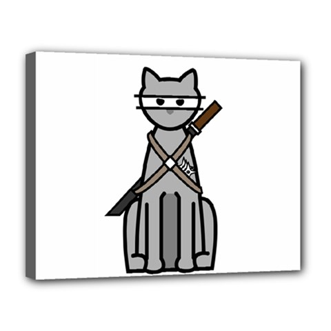 Ninja Cat Canvas 14  x 11  (Framed)