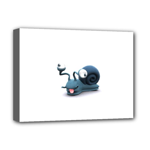 Funny Snail Deluxe Canvas 16  X 12  (framed)