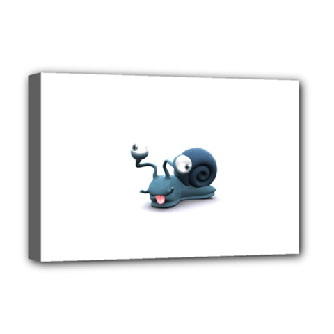 Funny Snail Deluxe Canvas 18  x 12  (Framed)
