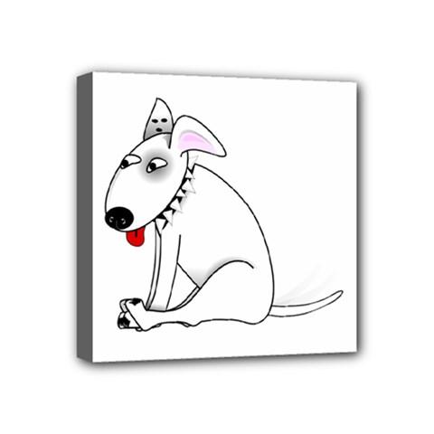Pitbull Mini Canvas 4  x 4  (Framed)